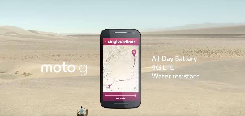 Anuncio de Moto G 2015 en el desierto