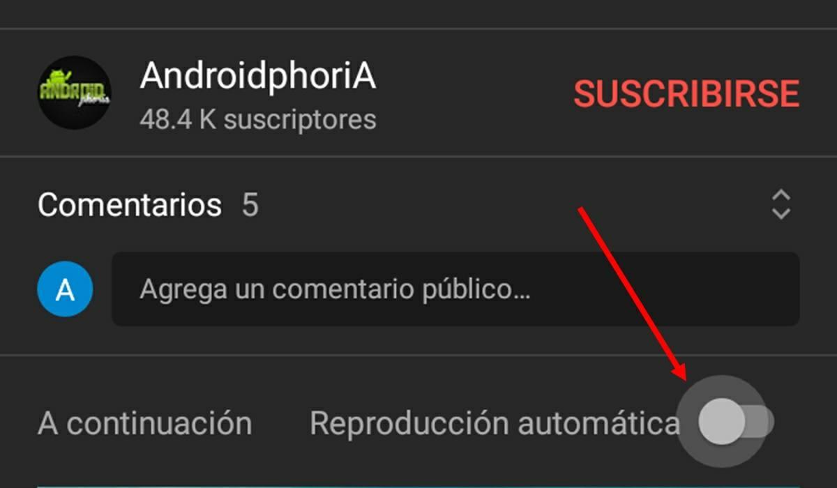 apagar reproduccion automatica youtube