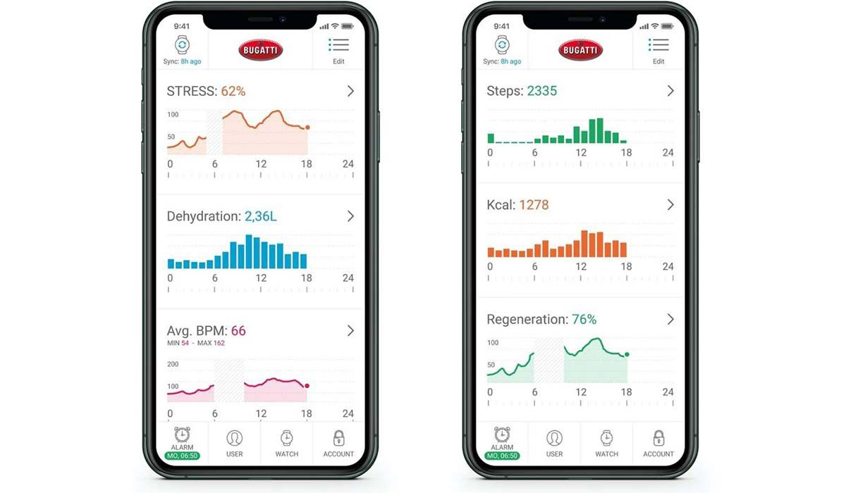 aplicacion movil del smartwatch bugatti