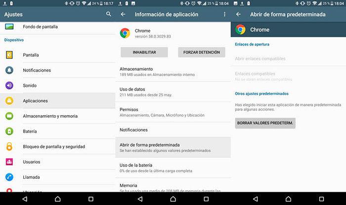 aplicaciones defecto android