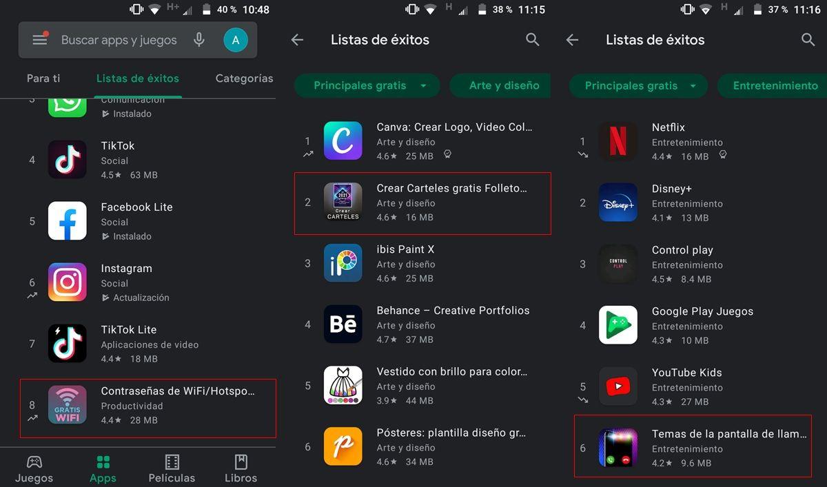 aplicaciones posicionadas artificialmente en google play store