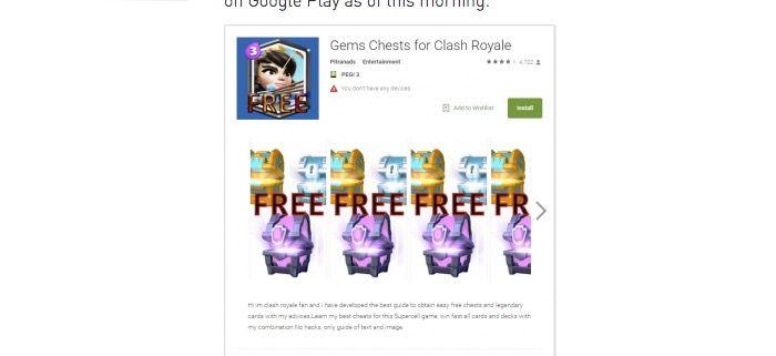 app de Clash Royale tiene malware