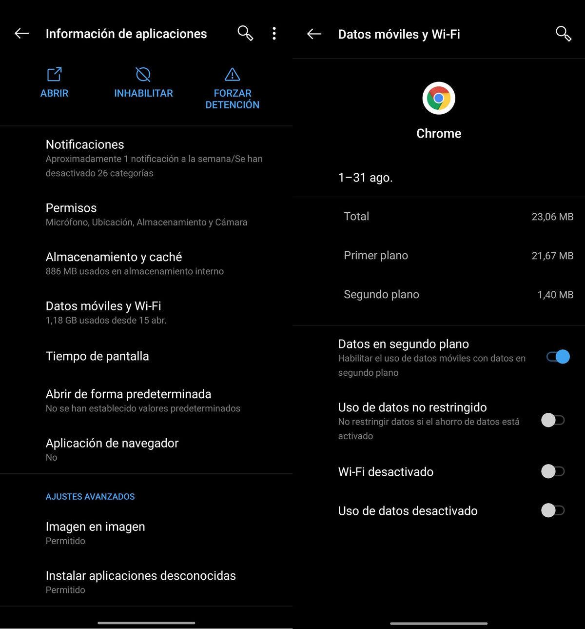 Apps segundo plano Android