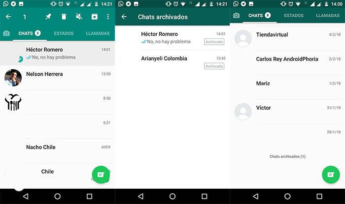archivar un chat en whatsApp