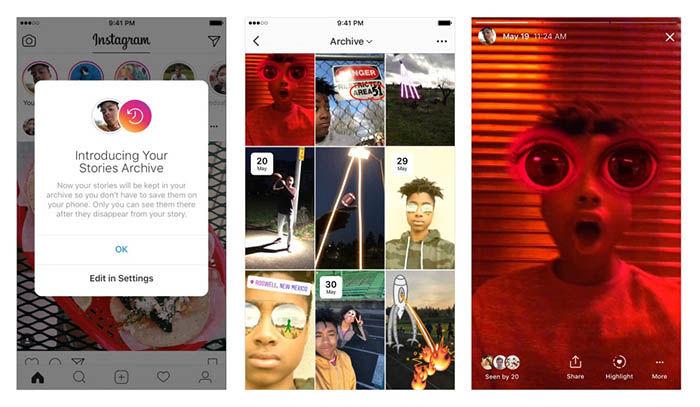 archivo de las historias de instagram