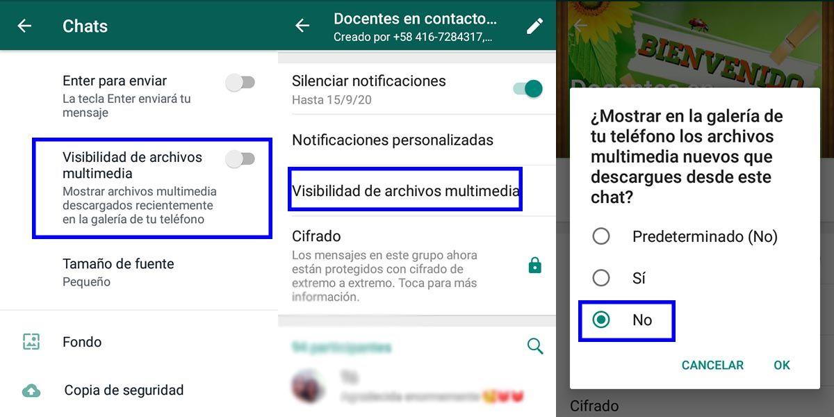 desactivar archivos multimedia en whatsapp