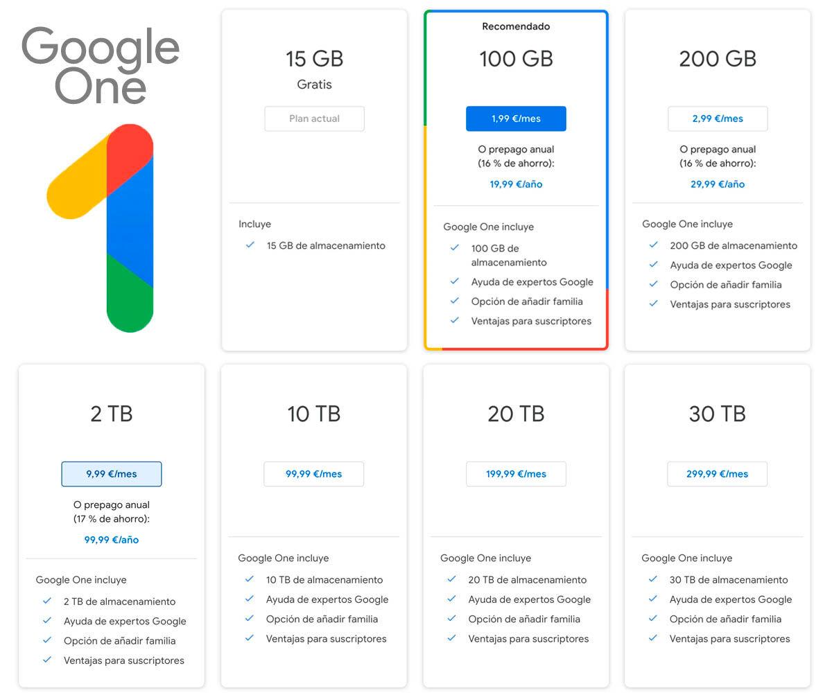 aumentar almacenamiento de drive con planes google one