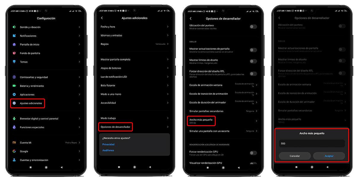 aumentar o reducir letra de whatsapp desde las opcones de desarrollo android