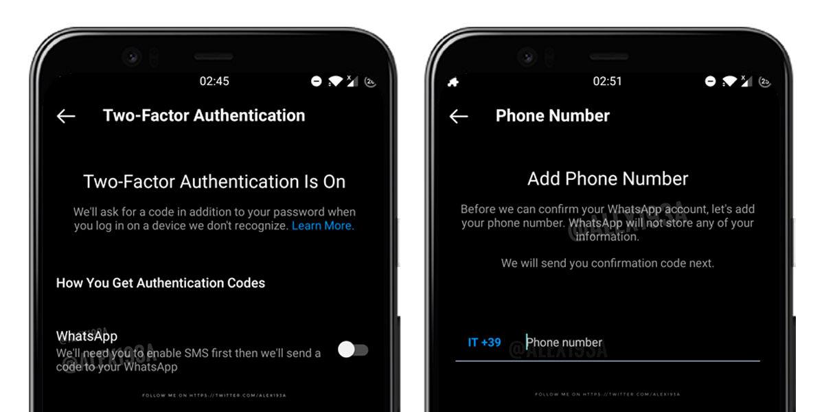 autentificación doble factor whatsapp instragram