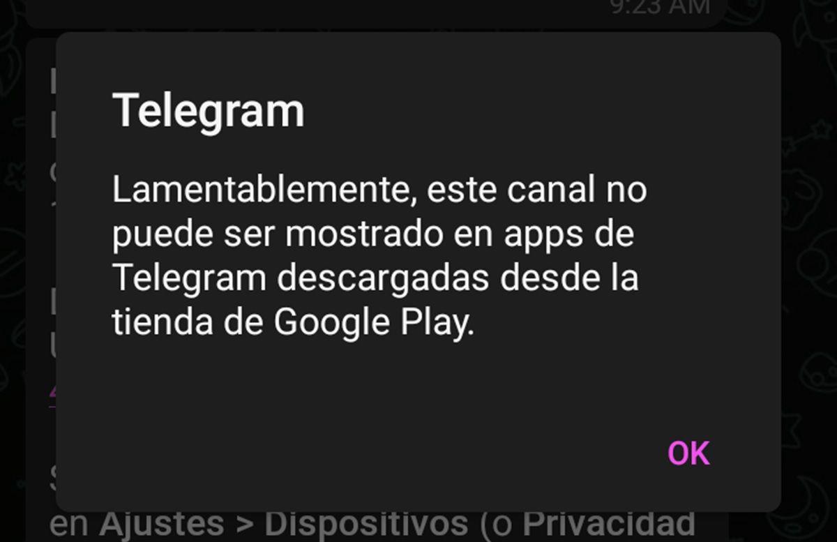 aviso de canales prohibidos por google play store