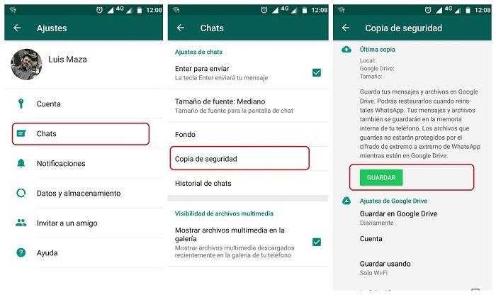 copia de seguridad de chats en WhatsApp
