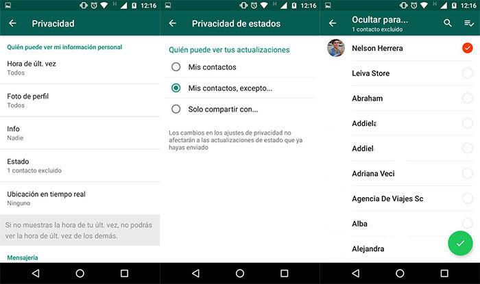 bloquear a un usuario para que no vea los estados de WhatsApp