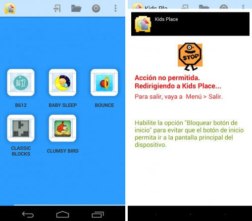 bloquear aplicaciones niños android kids place1