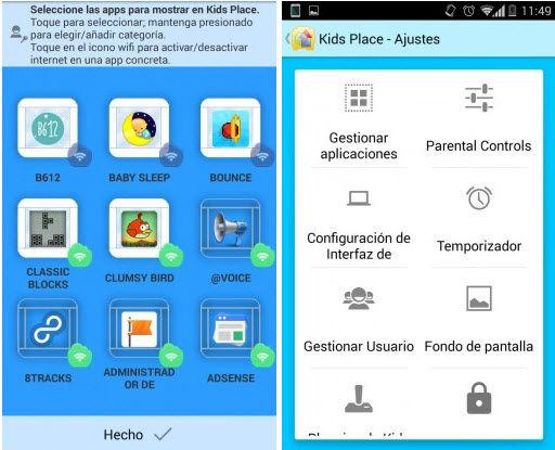 bloquear aplicaciones niños android kids place2