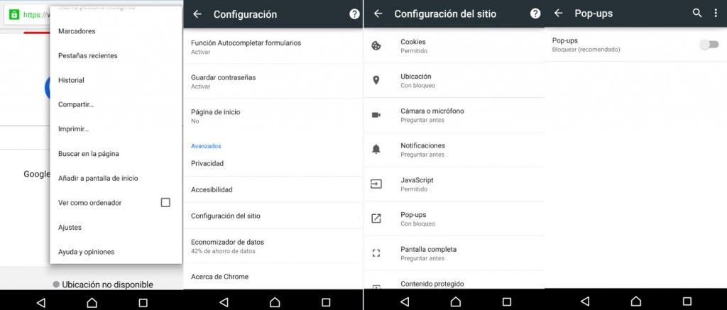 bloquear pop ups chrome android1