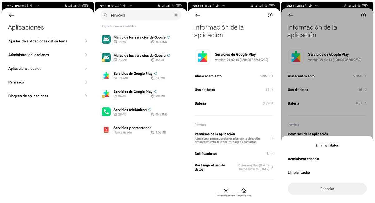 borrar cache servicios de google play resolver error 8 android auto