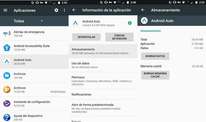 borrar cache y datos de android auto