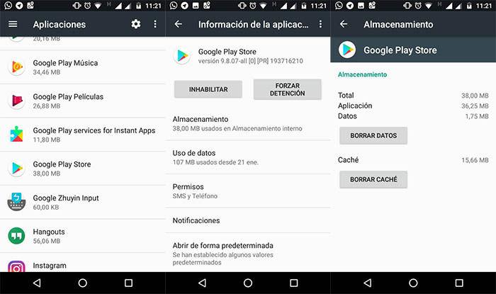 borrar datos cache de la Google Play