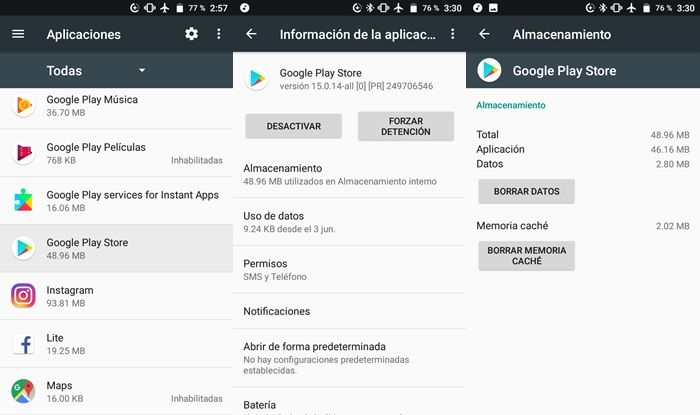 borrar datos y cache play store