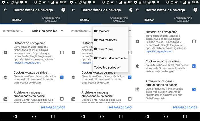borrar los datos cache de Google Chrome
