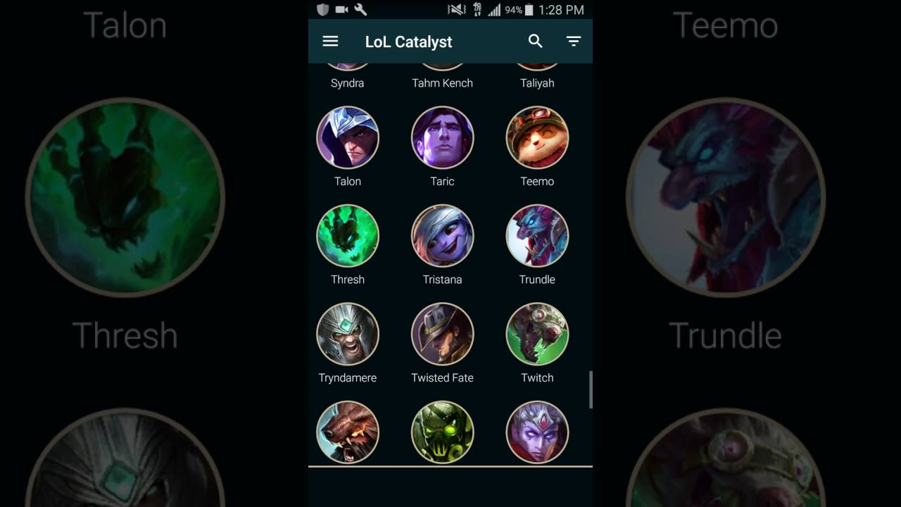 builds for lol android