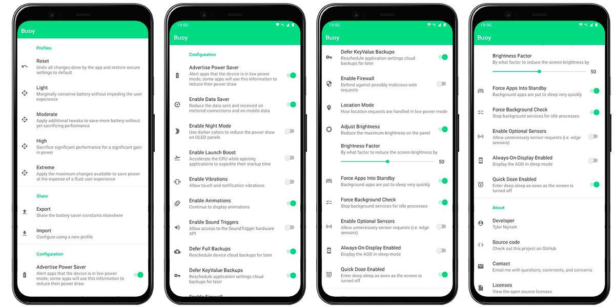 buoy app cómo usar para modificar ahorro energia android