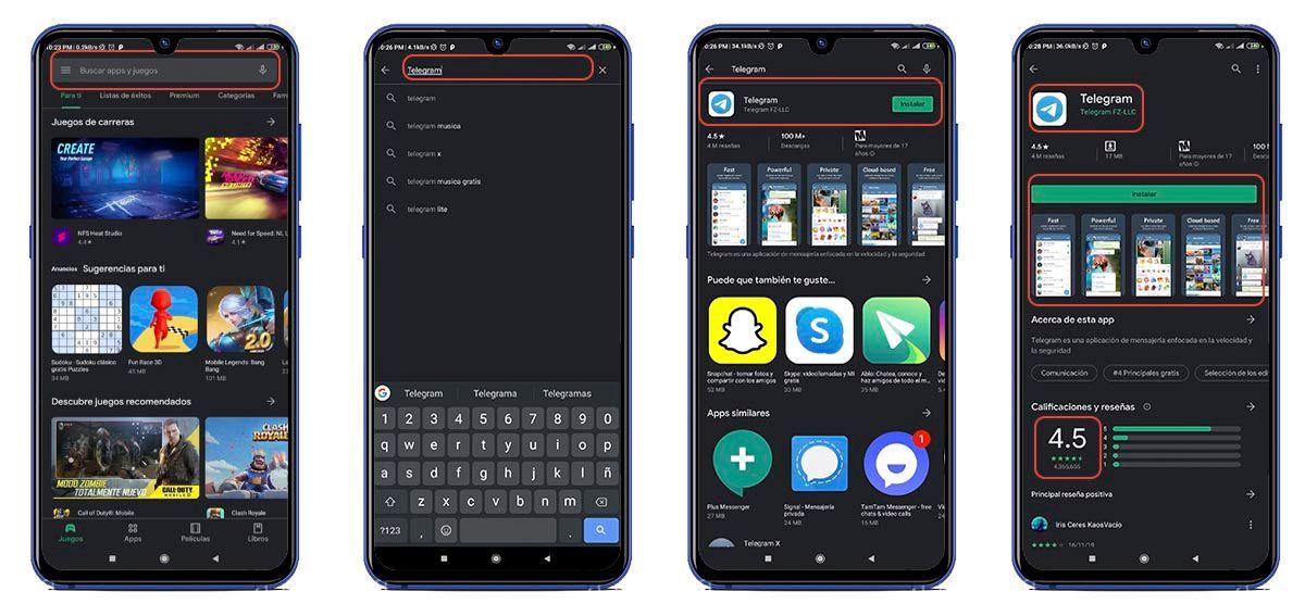 buscar e instalar una aplicacion concreta en la Play Store