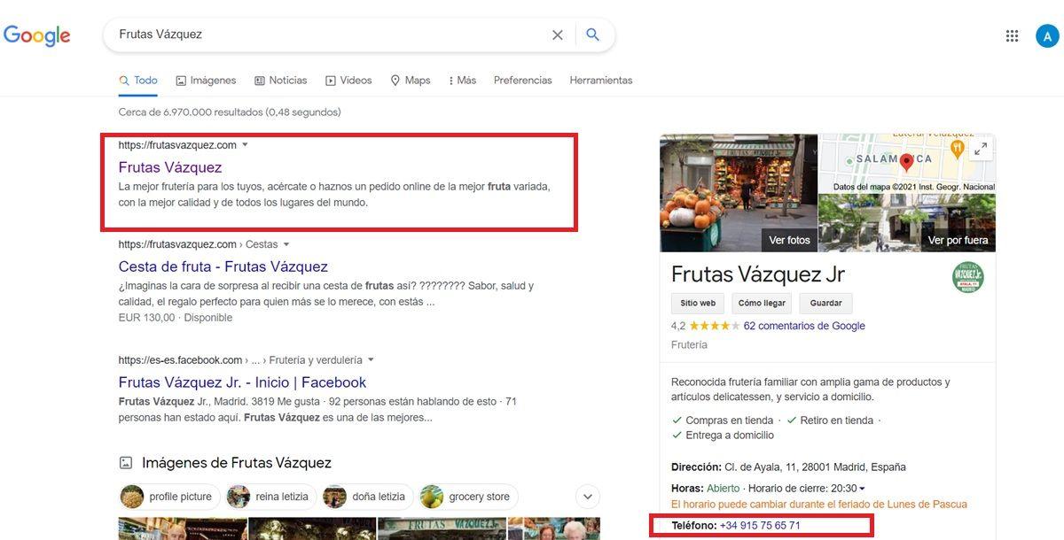 buscar numero de telefono empresa por google