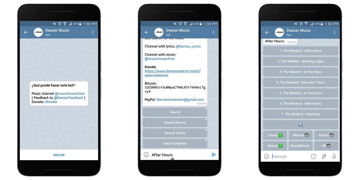 Búsqueda de música en Telegram con Deezer