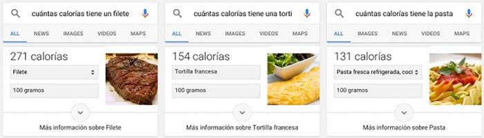 calorias google now