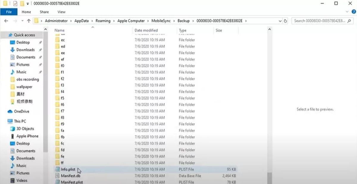 cambiar el archivo de la copia de seguridad