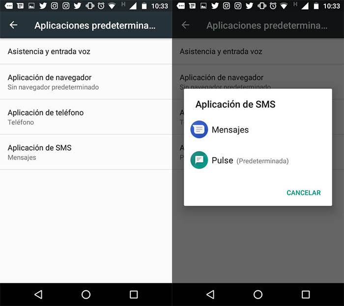 cambiar la aplicacion predeterminada de SMS