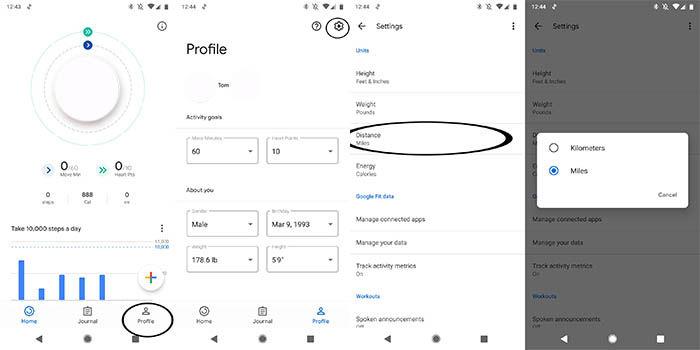 cambiar la distancia en Google Fit