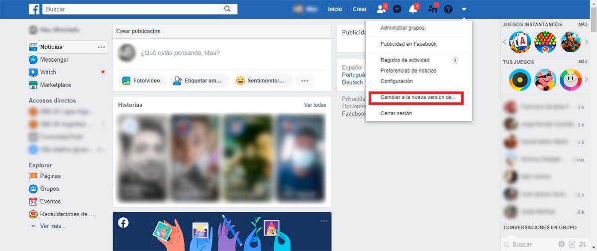 cambiar la version de Facebook
