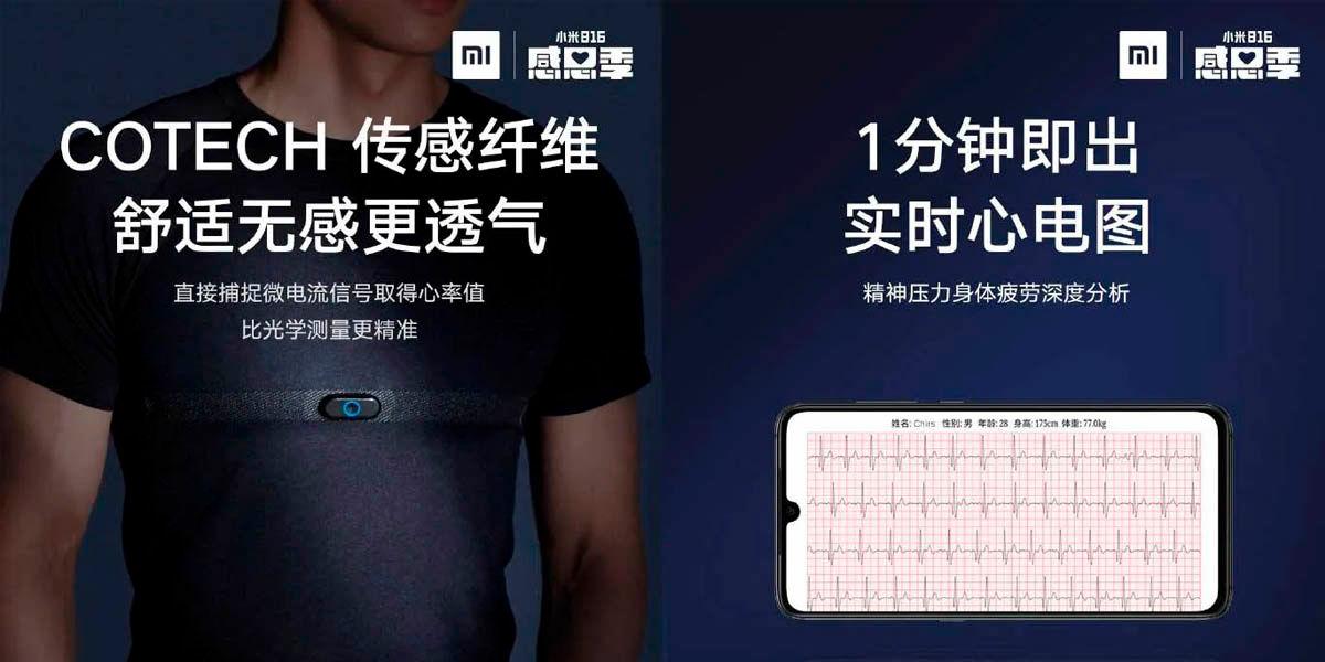 camiseta xiaomi con medidor pulso