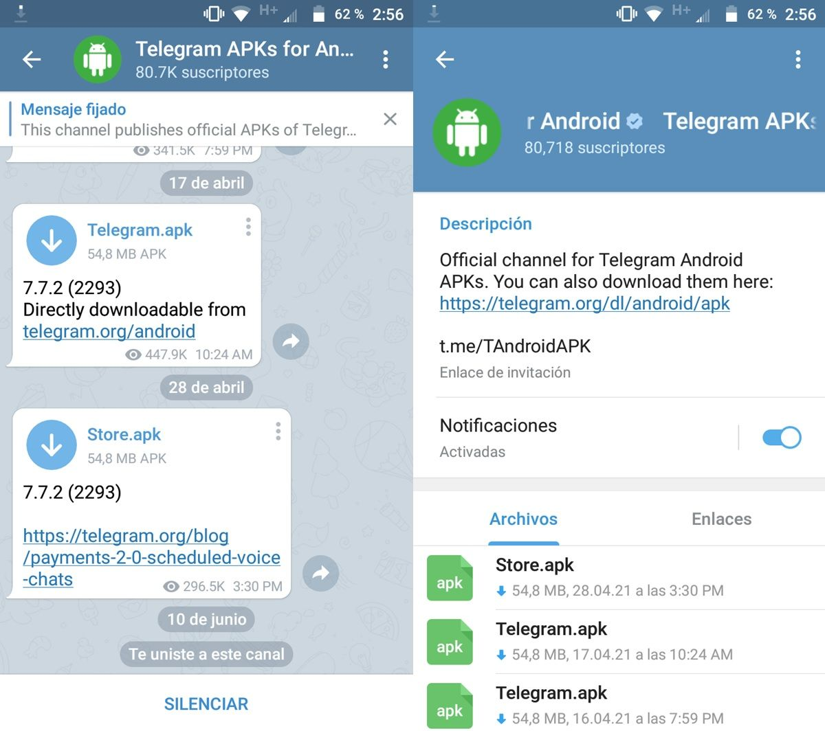 canal oficial telegram apks for android
