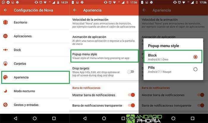 captuiras de nova launcher para iconos de Android 8