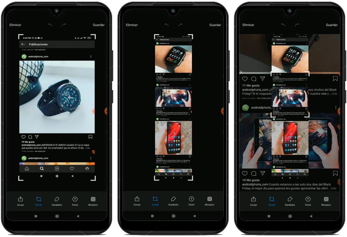 captura y recorta pantalla de cualquir tamaño con MIUI 11