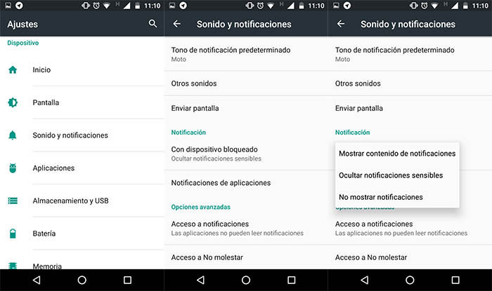 capturas de los ajustes de notificaciones del moto g4 play