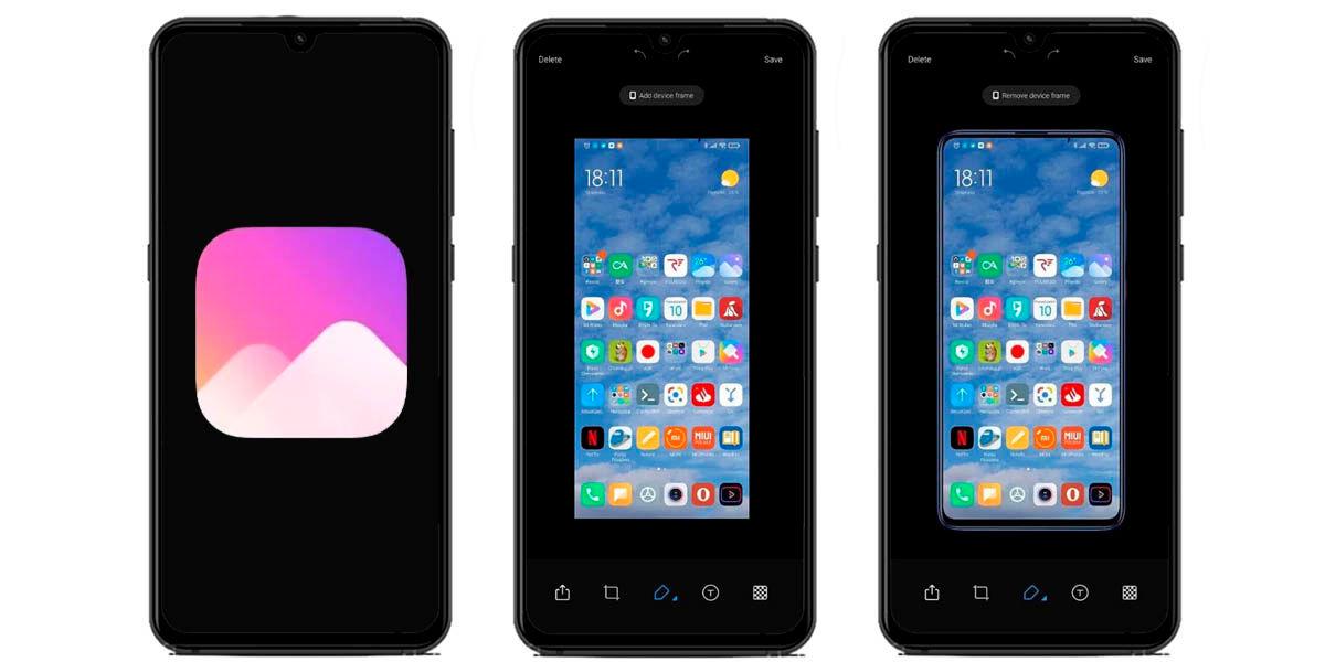 capturas de pantalla con marcos móviles xiaomi