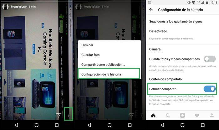 capturas para desactivar compartir historias en instagram