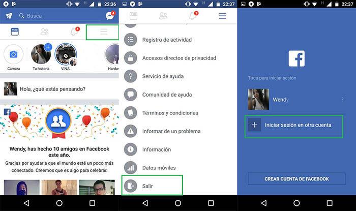 capturas para iniciar sesion con otro usuario en Facebook