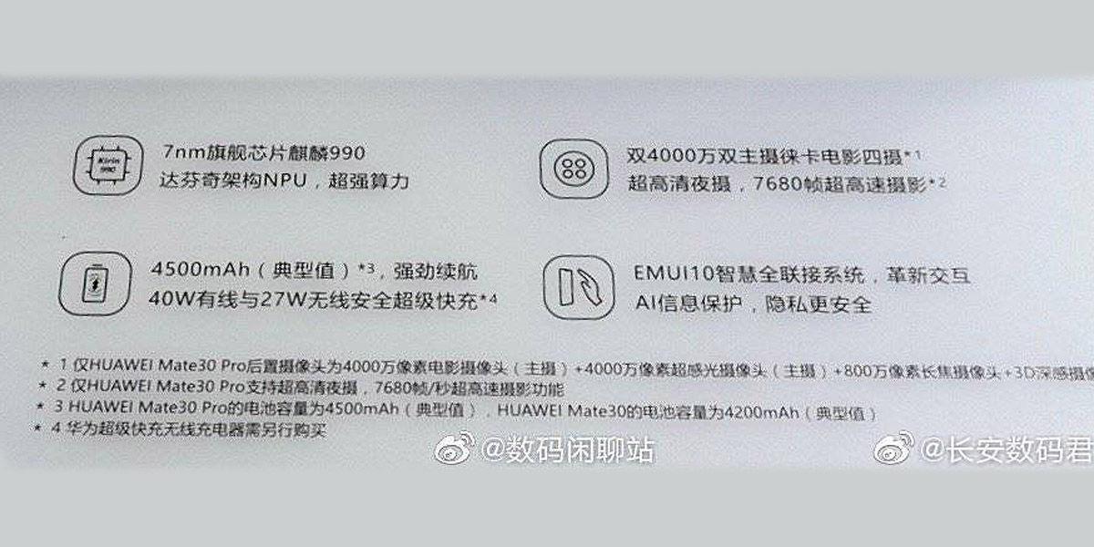 caracteristicas filtradas huawei mate 30 pro