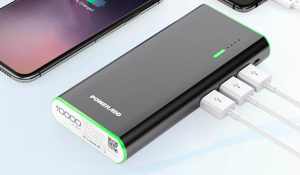 cargador portatil Poweradd 10000 mAh triple usb