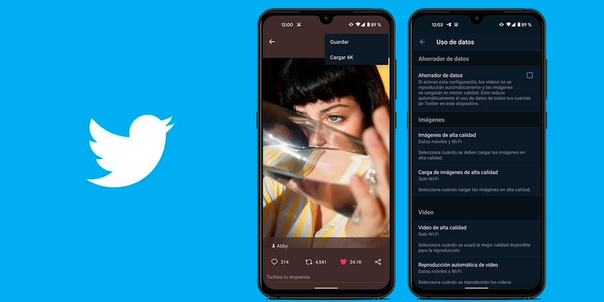 cargar imágenes 4k twitter android