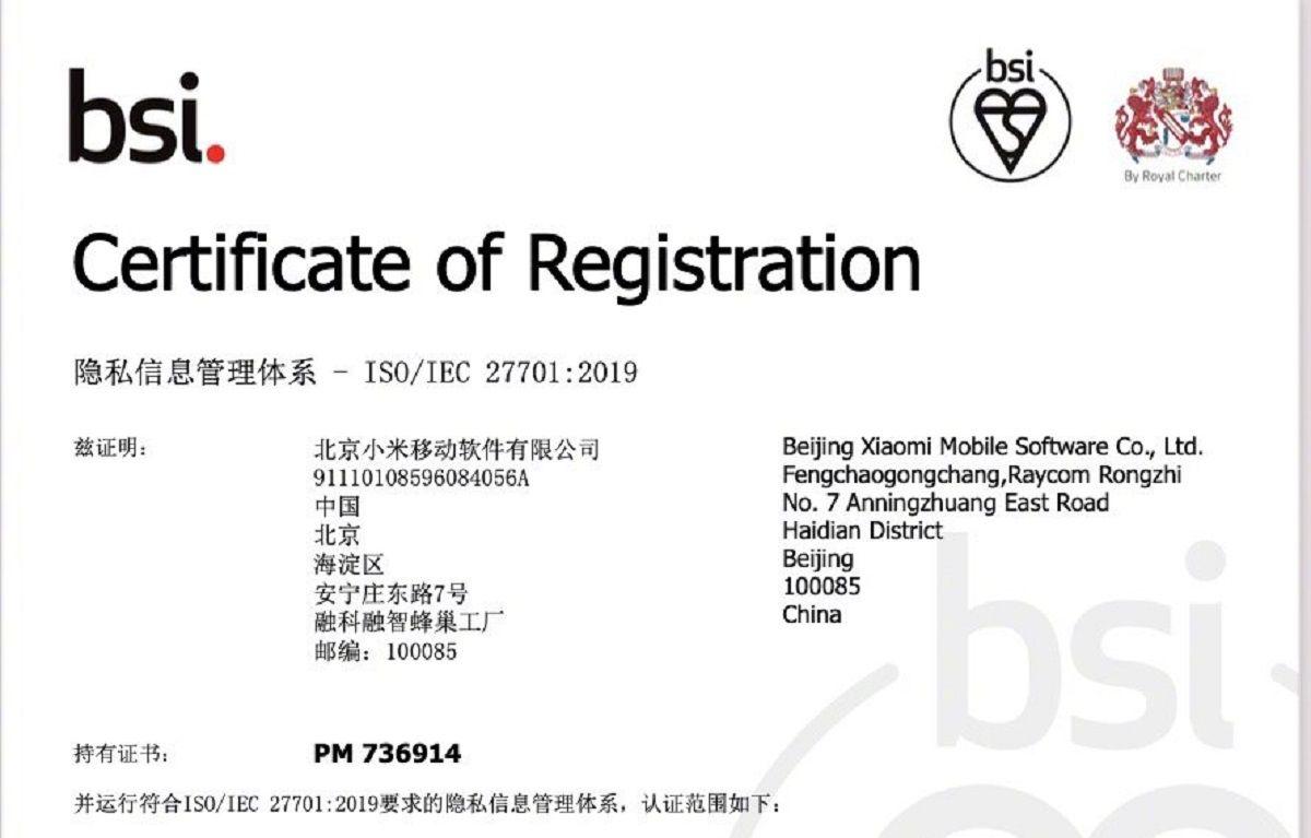 certificacion xiaomi