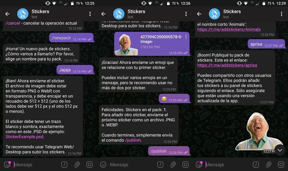 chat con bot stickers de telegram para crear pack de stickers