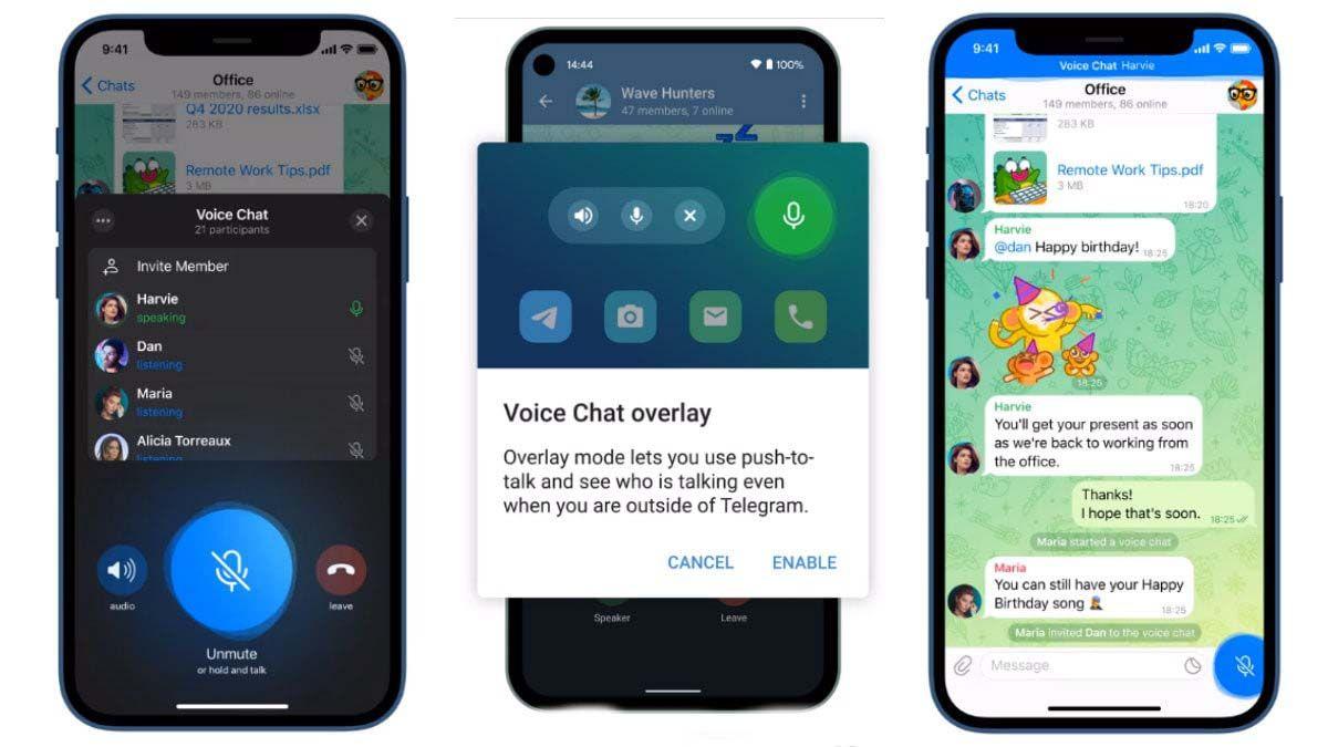 chats de voz 2.0 en telegram nuevas funciones