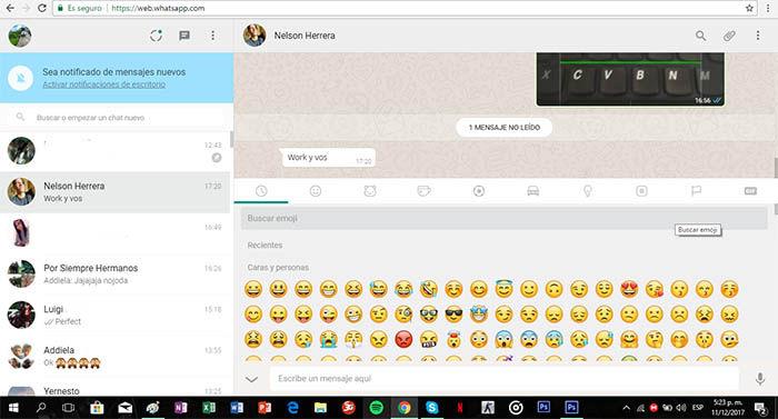 chats en la version web de whatsapp