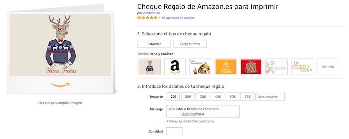 Cheque regalo amazon repsol